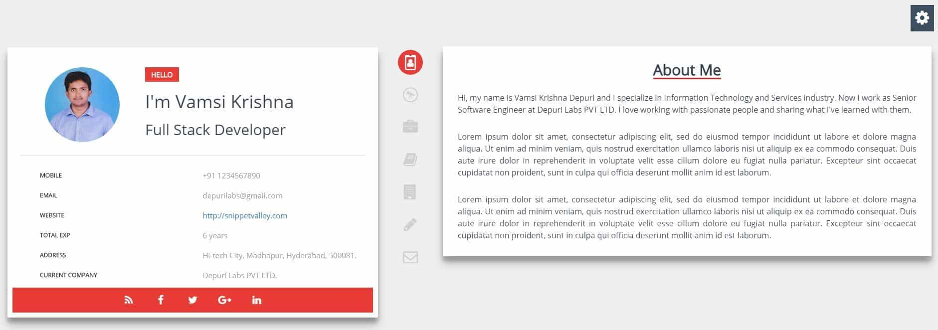 svresume 1 free resume bootstrap template